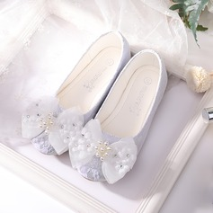 Girl's Closed Toe Mesh Flat Heel Flats Flower Girl Shoes With Flower