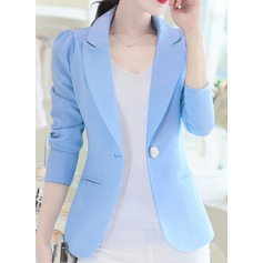 Polyester 3/4 Sleeves Plain Blazer Coats (1004162328)