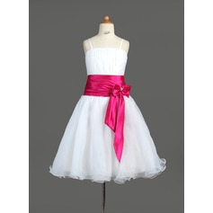 A-Line/Princess Knee-length Flower Girl Dress - Organza/Charmeuse Sleeveless Straps With Sash/Bow(s)/Rhinestone