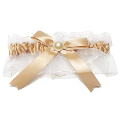 Elegant Satin Organza With Bowknot Rhinestone Wedding Garters