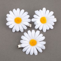 Charming Fabric Daisy Flowers & Feathers (Set of 3)