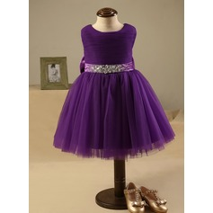 A-Line/Princess Knee-length Flower Girl Dress - Polyester/Cotton Sleeveless Scoop Neck With Bow(s)/Rhinestone