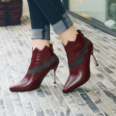 Women's PU Stiletto Heel Pumps Closed Toe Ankle Boots With Split Joint shoes
