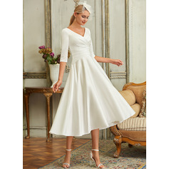 V-neck Tea-Length Satin Wedding Dress (265256053)