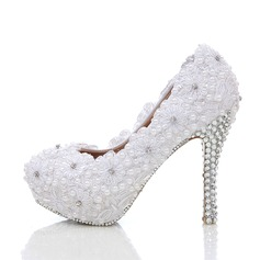 Women's Real Leather Stiletto Heel Closed Toe Platform Pumps With Rhinestone Stitching Lace