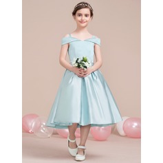 Off-the-Shoulder Tea-Length Satin Junior Bridesmaid Dress (268193428)
