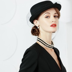 Wool With Tulle Bowler/Cloche Hats