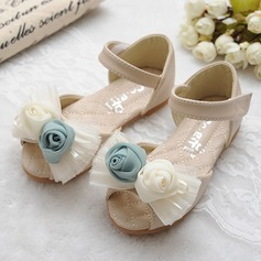 Girl's Leatherette Flat Heel Peep Toe Mary Jane Sandals With Bowknot Satin Flower Velcro