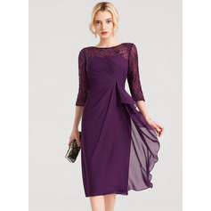 Sheath/Column Scoop Neck Knee-Length Chiffon Cocktail Dress (270214090)