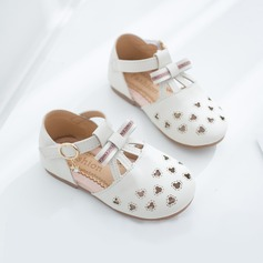 Girl's Round Toe Closed Toe Leatherette Flat Heel Flats With Buckle Velcro