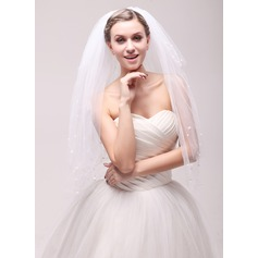 Four-tier Cut Edge Waltz Bridal Veils With Faux Pearl