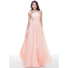 A-Line/Princess Scoop Neck Floor-Length Chiffon Prom Dresses With Beading (018059409)