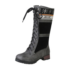 Women's Leatherette Chunky Heel Boots Mid-Calf Boots Snow Boots With Lace-up shoes