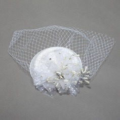 Glamourous Net Yarn Hats With Rhinestone/Pearl