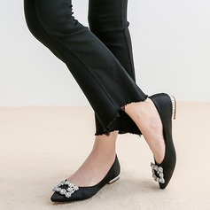 Women's Silk Like Satin Flat Heel Flats With Crystal shoes