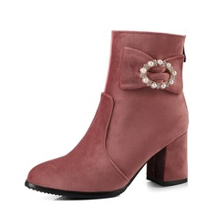Women's Suede Chunky Heel Pumps Ankle Boots With Pearl shoes