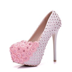Women's Lace Leatherette Stiletto Heel Closed Toe Platform Pumps With Rhinestone Applique