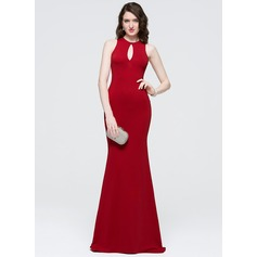 Sheath/Column Scoop Neck Sweep Train Satin Prom Dresses