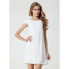 Polyester/Chiffon With Lace Above Knee Dress (199086960)