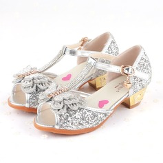 Girl's Peep Toe Sparkling Glitter Flat Heel Sandals Flats Flower Girl Shoes With Bowknot Buckle Sparkling Glitter