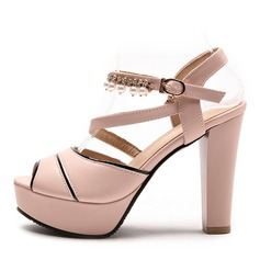 Women's Leatherette Chunky Heel Sandals Pumps Platform Peep Toe With Imitation Pearl shoes