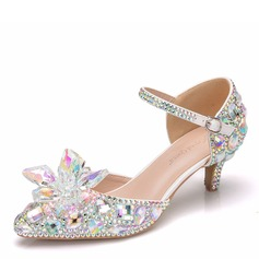 Frauen Kunstleder Niederiger Absatz Geschlossene Zehe Absatzschuhe Sandalen mit Kristall