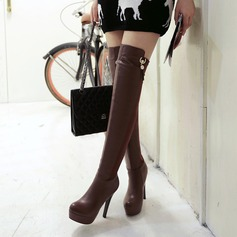 Women's Leatherette Stiletto Heel Pumps Platform Boots Over The Knee Boots With Rhinestone Imitation Pearl Split Joint shoes