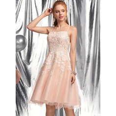 A-Line Square Neckline Knee-Length Tulle Prom Dresses With Beading Sequins
