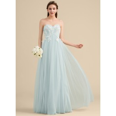 A-Line/Princess Sweetheart Floor-Length Tulle Lace Bridesmaid Dress