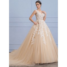 Ball-Gown Scoop Neck Cathedral Train Tulle Lace Wedding Dress With Beading (002107826)