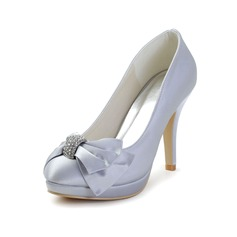 Women's Satin Kitten Heel Closed Toe Platform With Rhinestone Lace-up