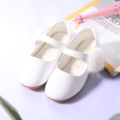 Girl's Round Toe Closed Toe Leatherette Flat Heel Flats Flower Girl Shoes With Velcro pompom