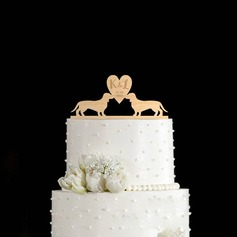 Personalized Love Design Wood Cake Topper