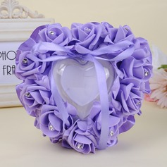 Heart Shaped Ring Pillow in foam With Ribbons/Rhinestones