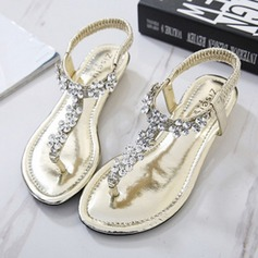 Femmes Similicuir Talon plat Chaussures plates Sandales Beach Wedding Shoes avec Strass (047123344)