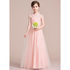 A-Line/Princess Halter Floor-Length Tulle Junior Bridesmaid Dress With Ruffle