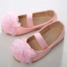 Girl's Closed Toe Leatherette Flat Heel Flats Flower Girl Shoes With Satin Flower Crystal
