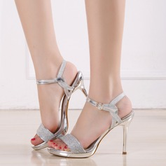 Women's Leatherette Stiletto Heel Sandals Pumps Peep Toe Slingbacks With Sparkling Glitter Buckle shoes