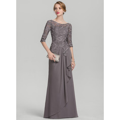 A-Line/Princess Scoop Neck Floor-Length Chiffon Lace Mother of the Bride Dress With Cascading Ruffles (008131932)