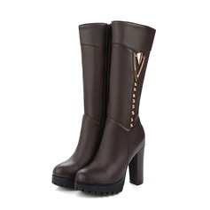 Women's Leatherette Chunky Heel Pumps Boots Knee High Boots With Zipper Others shoes