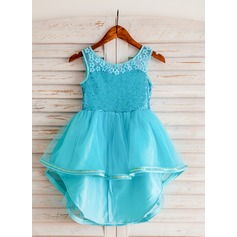 A-Line/Princess Tea-length/Asymmetrical Flower Girl Dress - Polyester Sleeveless Scoop Neck With Appliques/Sequins
