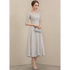 A-Line Scoop Neck Tea-Length Chiffon Lace Cocktail Dress With Beading Sequins (270236747)