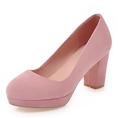 Women's Leatherette Chunky Heel Pumps Platform Closed Toe With Others shoes