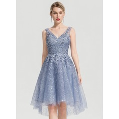 A-Line V-neck Asymmetrical Tulle Cocktail Dress With Sequins