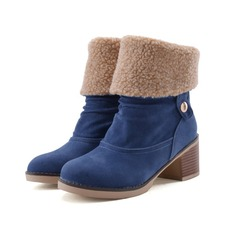 Women's Suede Low Heel Platform Closed Toe Ankle Boots With Ruched shoes