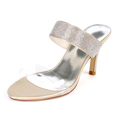 Women's Satin Stiletto Heel Pumps Sandals Slingbacks With Rhinestone