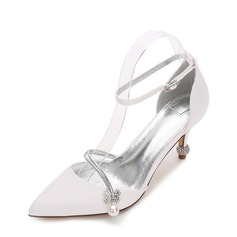 Women's Silk Like Satin Stiletto Heel Pumps Sandals With Buckle Imitation Pearl
