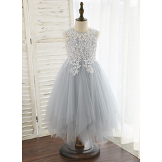 A-Line Tea-length Flower Girl Dress - Tulle Sleeveless Scoop Neck (010172370)