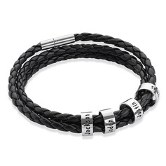 Men Braided Leather Bracelets With Custom Beads In Silver - Gifts For Men (106218405)