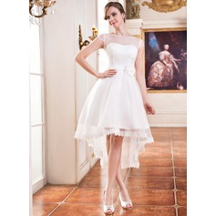 Asymmetrical Organza Wedding Dress With Lace Beading Flower(s)